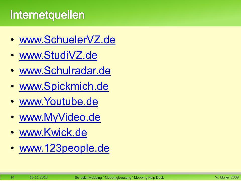 W. Ebner 2009 Schueler-Mobbing * Mobbingberatung * Mobbing-Help-Desk www.SchuelerVZ.de www.StudiVZ.de www.Schulradar.de www.Spickmich.de www.Youtube.d