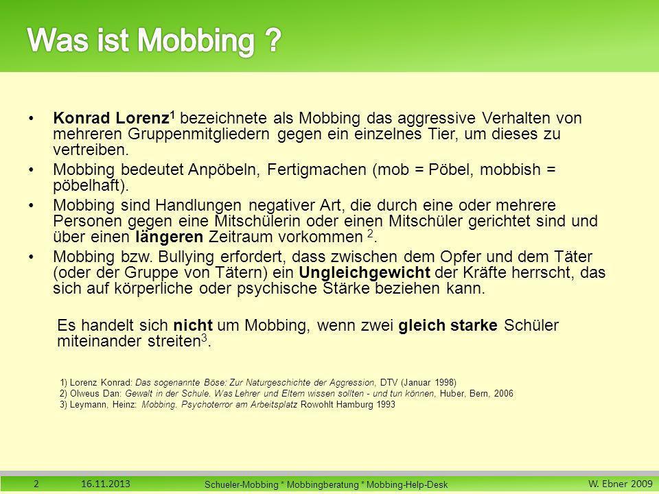 W. Ebner 2009 Schueler-Mobbing * Mobbingberatung * Mobbing-Help-Desk Konrad Lorenz 1 bezeichnete als Mobbing das aggressive Verhalten von mehreren Gru