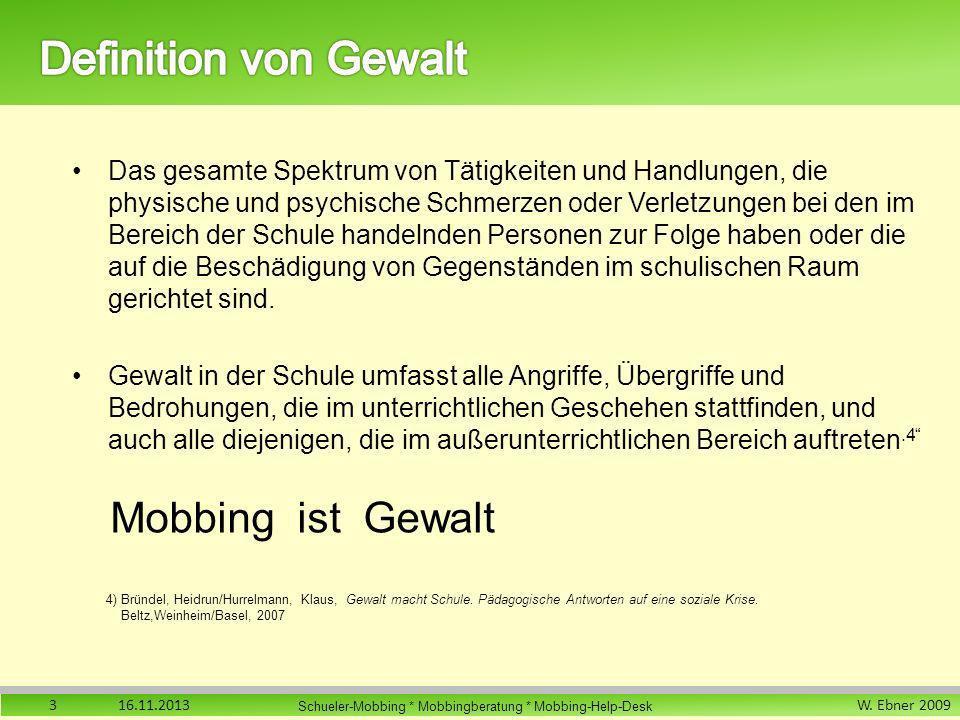 W. Ebner 2009 Schueler-Mobbing * Mobbingberatung * Mobbing-Help-Desk Das gesamte Spektrum von Tätigkeiten und Handlungen, die physische und psychische