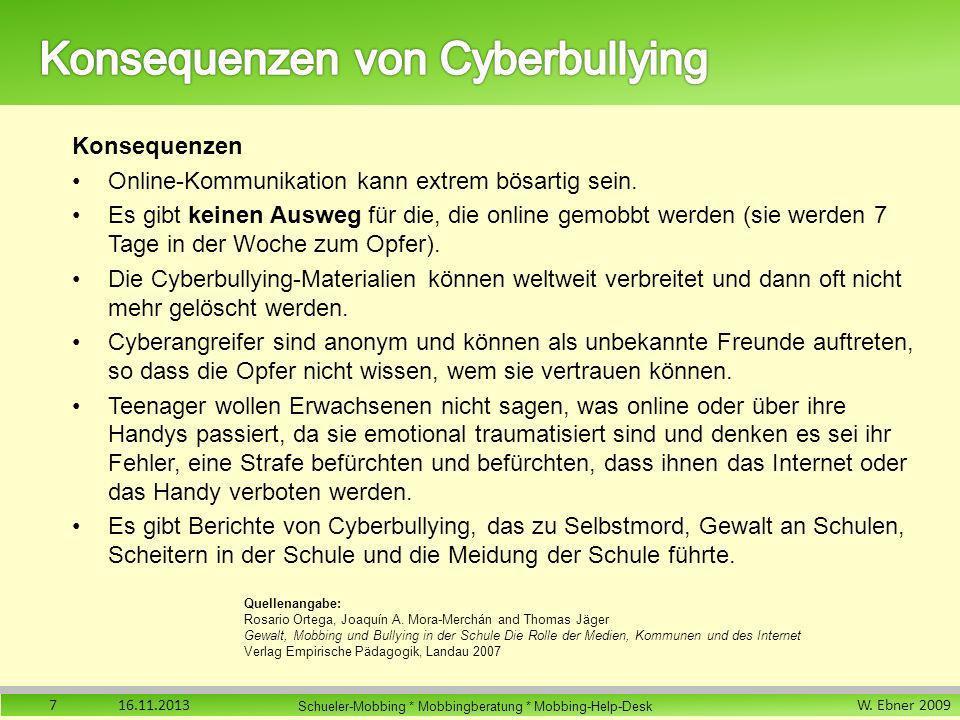 W. Ebner 2009 Schueler-Mobbing * Mobbingberatung * Mobbing-Help-Desk Konsequenzen Online-Kommunikation kann extrem bösartig sein. Es gibt keinen Auswe