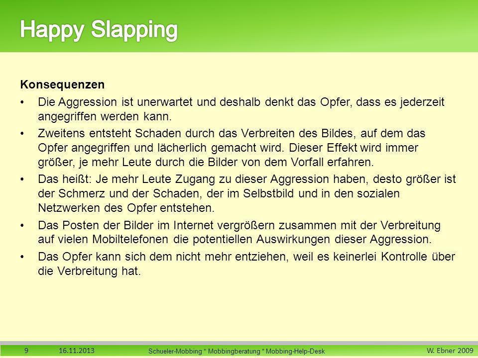 W. Ebner 2009 Schueler-Mobbing * Mobbingberatung * Mobbing-Help-Desk Konsequenzen Die Aggression ist unerwartet und deshalb denkt das Opfer, dass es j