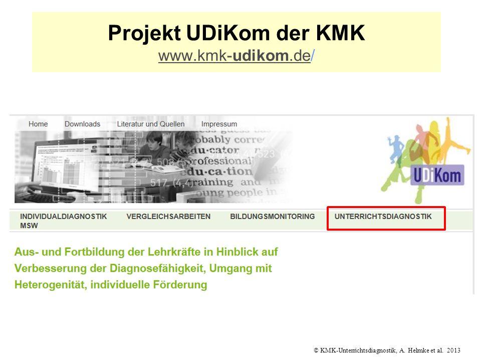 © KMK-Unterrichtsdiagnostik, A. Helmke et al. 2013 Projekt UDiKom der KMK www.kmk-udikom.de/ www.kmk-udikom.de