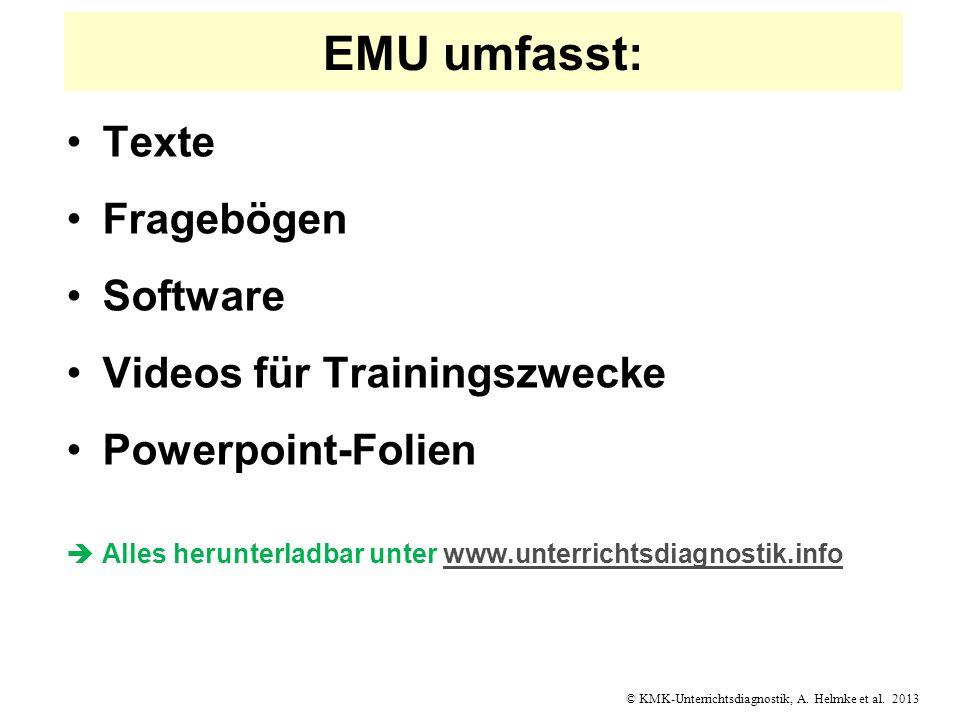 © KMK-Unterrichtsdiagnostik, A. Helmke et al. 2013 EMU umfasst: Texte Fragebögen Software Videos für Trainingszwecke Powerpoint-Folien Alles herunterl