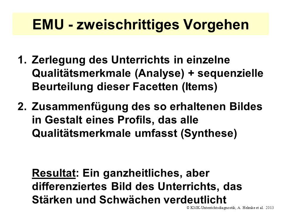 © KMK-Unterrichtsdiagnostik, A. Helmke et al. 2013 EMU - zweischrittiges Vorgehen 1.Zerlegung des Unterrichts in einzelne Qualitätsmerkmale (Analyse)