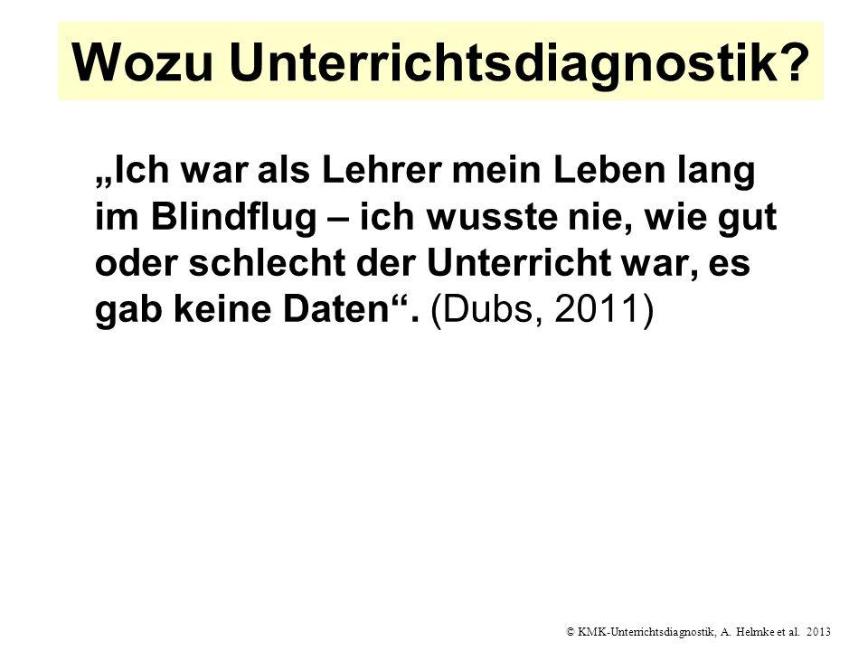 © KMK-Unterrichtsdiagnostik, A. Helmke et al. 2013 Wozu Unterrichtsdiagnostik? Ich war als Lehrer mein Leben lang im Blindflug – ich wusste nie, wie g