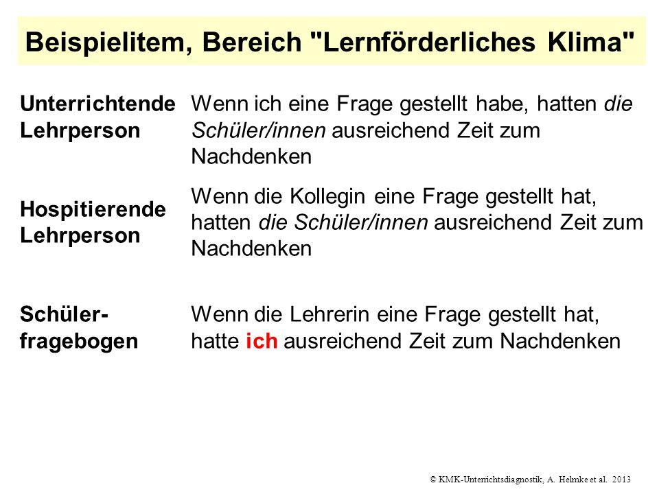 © KMK-Unterrichtsdiagnostik, A. Helmke et al. 2013 Beispielitem, Bereich