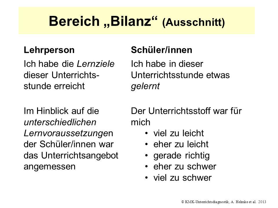© KMK-Unterrichtsdiagnostik, A. Helmke et al. 2013 Bereich Bilanz (Ausschnitt) LehrpersonSchüler/innen Ich habe die Lernziele dieser Unterrichts- stun
