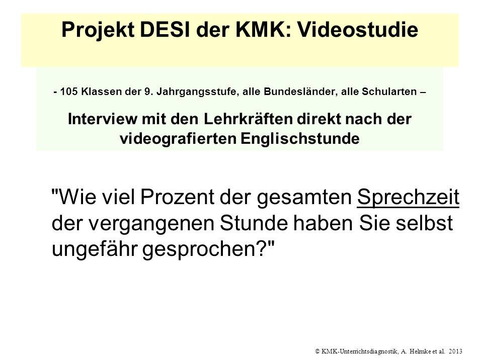 © KMK-Unterrichtsdiagnostik, A. Helmke et al. 2013 - 105 Klassen der 9. Jahrgangsstufe, alle Bundesländer, alle Schularten – Interview mit den Lehrkrä