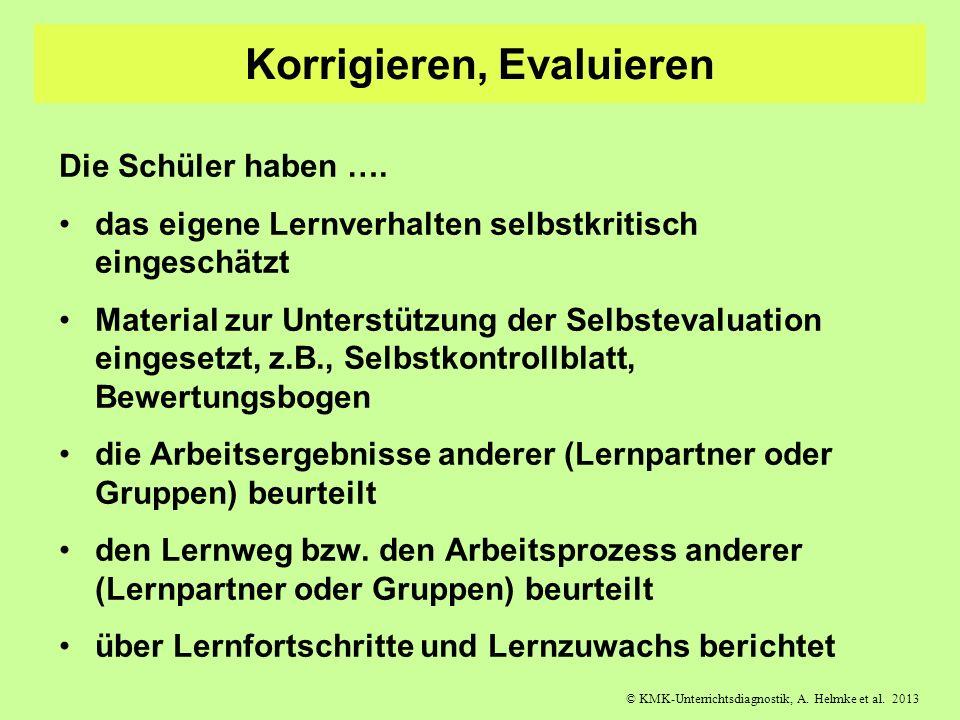 © KMK-Unterrichtsdiagnostik, A. Helmke et al. 2013 Korrigieren, Evaluieren Die Schüler haben …. das eigene Lernverhalten selbstkritisch eingeschätzt M