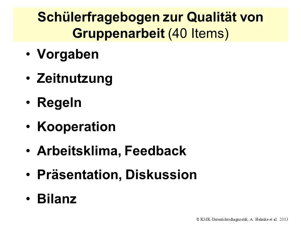 © KMK-Unterrichtsdiagnostik, A. Helmke et al. 2013 Schülerfragebogen zur Qualität von Gruppenarbeit (40 Items) Vorgaben Zeitnutzung Regeln Kooperation