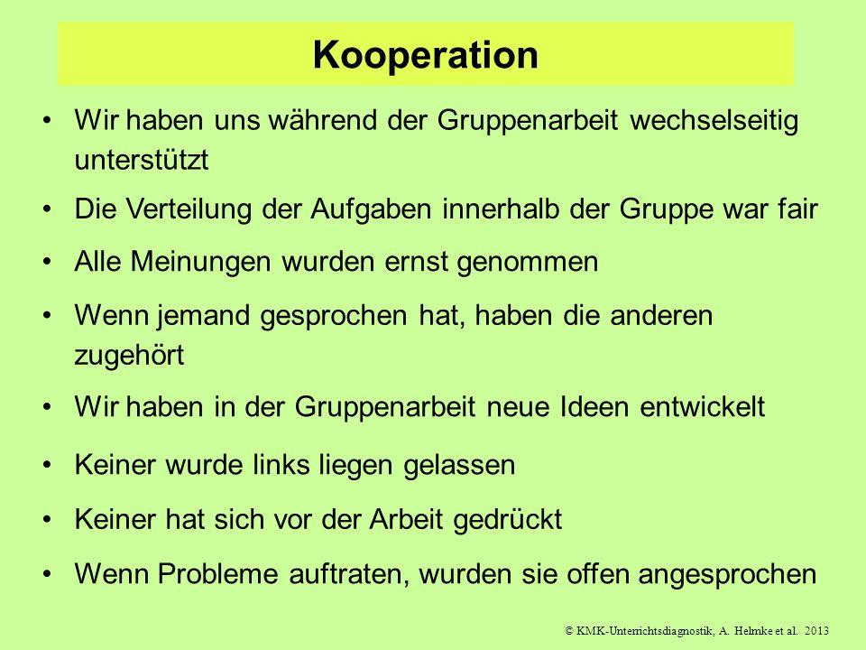 © KMK-Unterrichtsdiagnostik, A. Helmke et al. 2013 Kooperation Wir haben uns während der Gruppenarbeit wechselseitig unterstützt Die Verteilung der Au