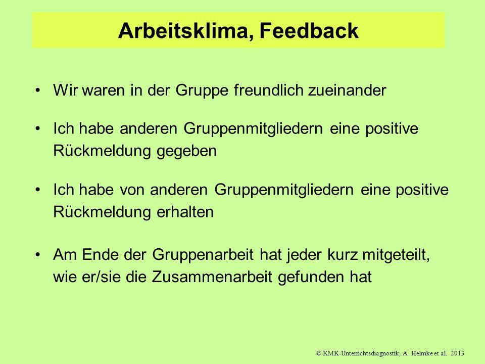 © KMK-Unterrichtsdiagnostik, A. Helmke et al. 2013 Arbeitsklima, Feedback Wir waren in der Gruppe freundlich zueinander Ich habe anderen Gruppenmitgli