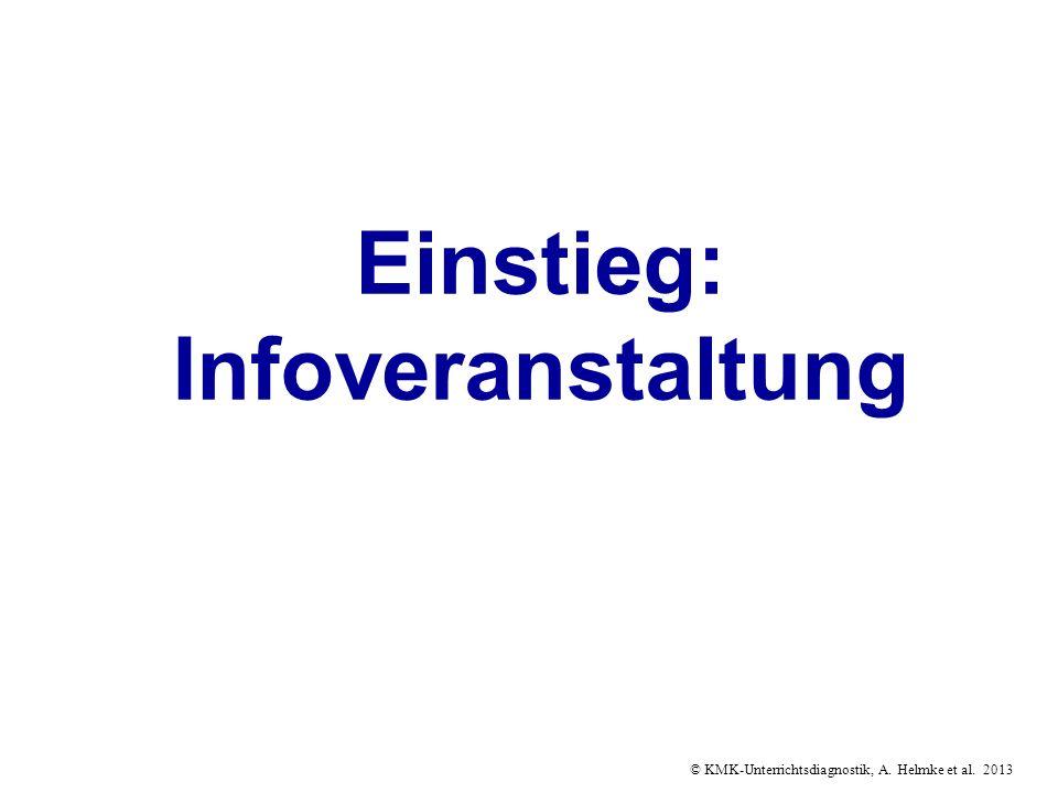 © KMK-Unterrichtsdiagnostik, A. Helmke et al. 2013 Einstieg: Infoveranstaltung