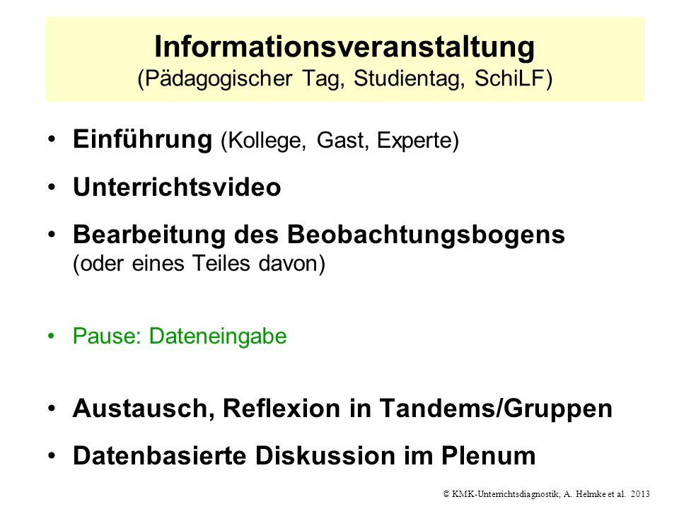 © KMK-Unterrichtsdiagnostik, A. Helmke et al. 2013 Informationsveranstaltung (Pädagogischer Tag, Studientag, SchiLF) Einführung (Kollege, Gast, Expert