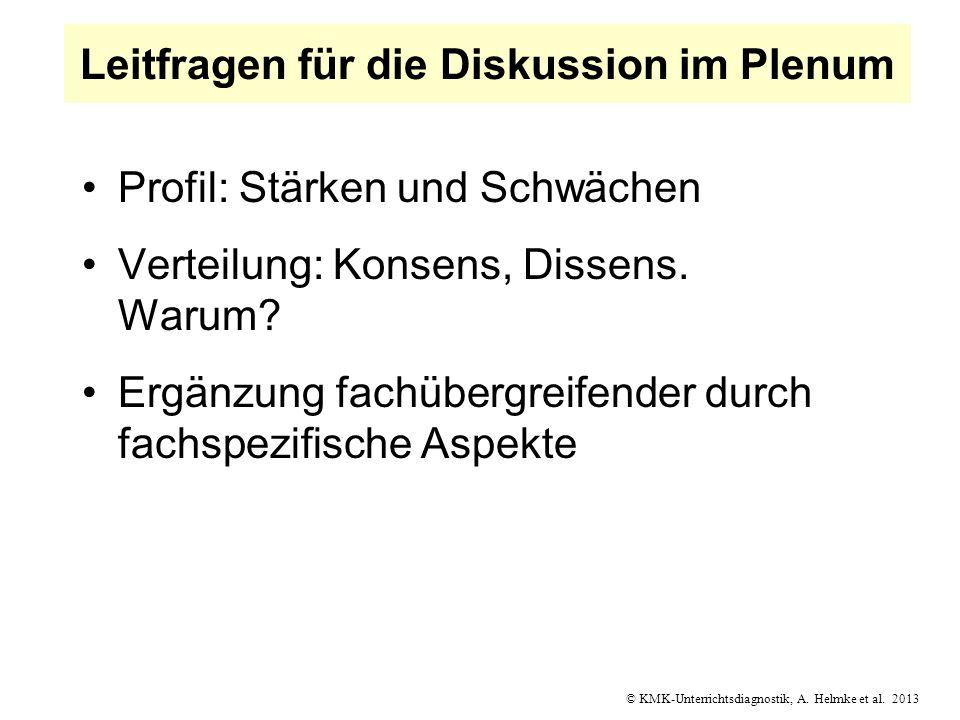 © KMK-Unterrichtsdiagnostik, A. Helmke et al. 2013 Leitfragen für die Diskussion im Plenum Profil: Stärken und Schwächen Verteilung: Konsens, Dissens.