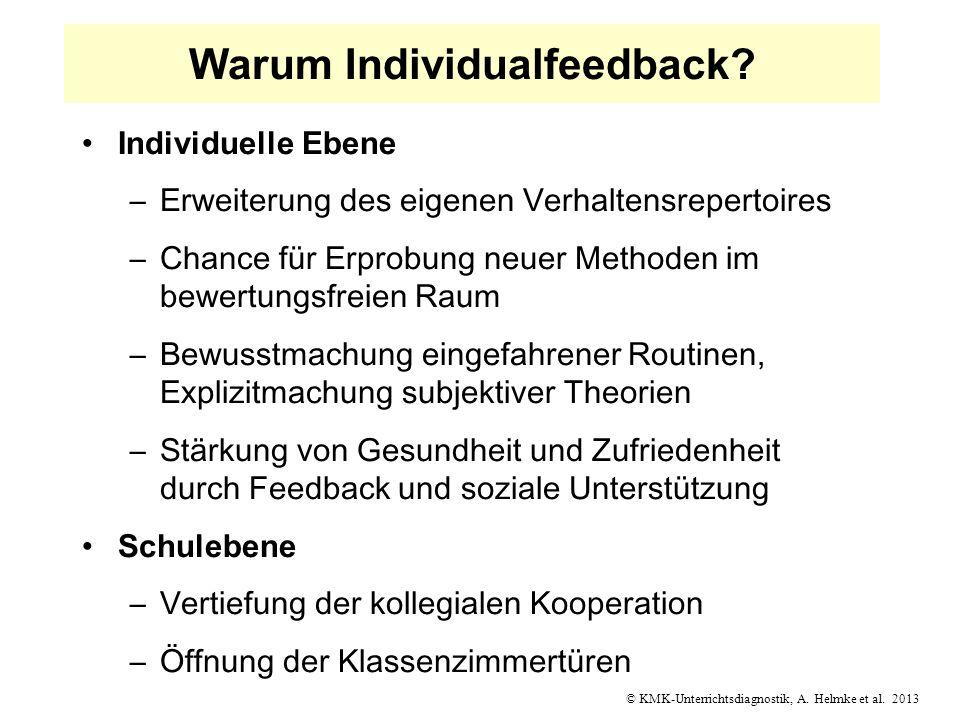 © KMK-Unterrichtsdiagnostik, A. Helmke et al. 2013 Warum Individualfeedback? Individuelle Ebene –Erweiterung des eigenen Verhaltensrepertoires –Chance