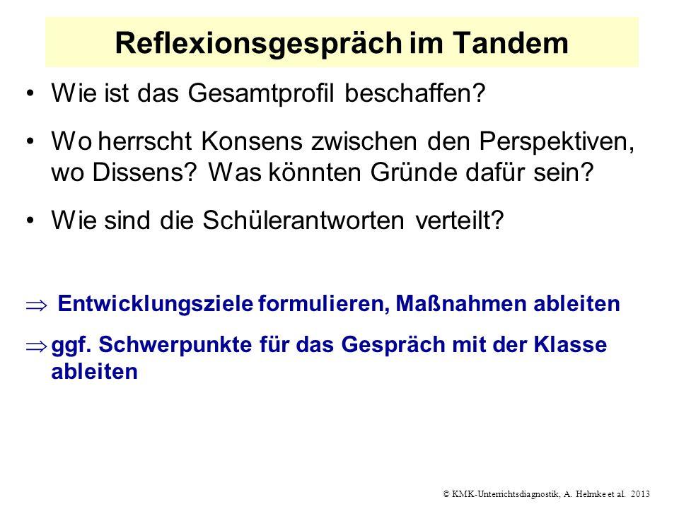 © KMK-Unterrichtsdiagnostik, A. Helmke et al. 2013 Reflexionsgespräch im Tandem Wie ist das Gesamtprofil beschaffen? Wo herrscht Konsens zwischen den