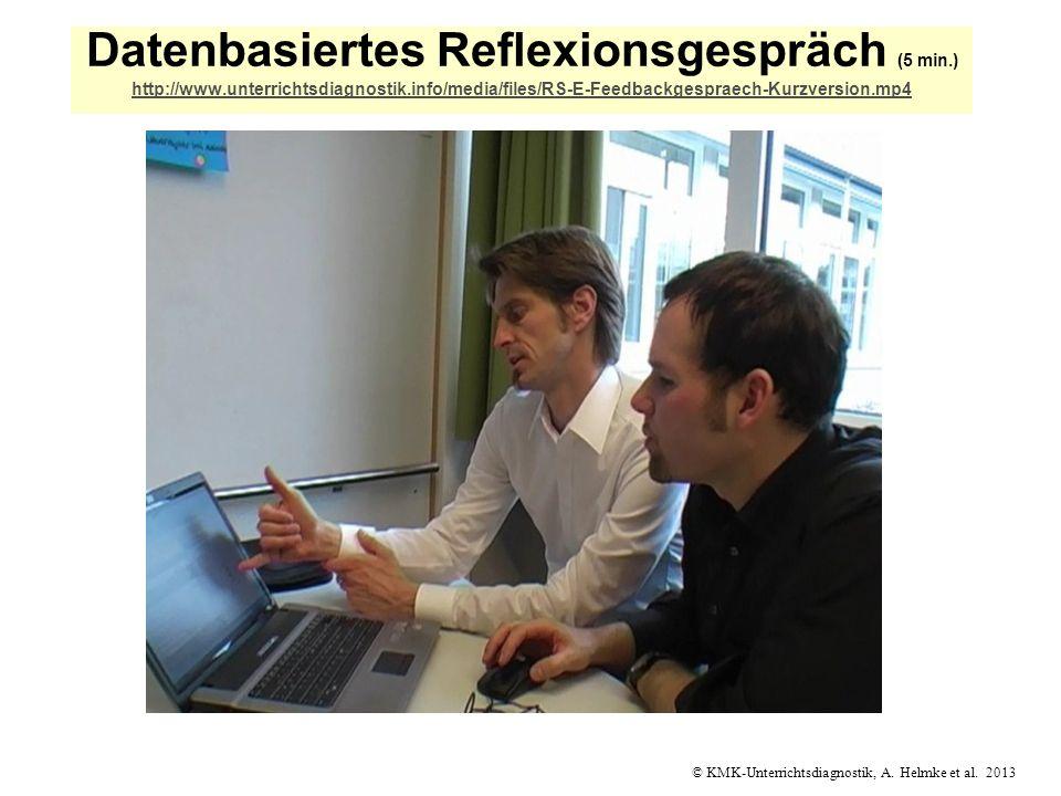 © KMK-Unterrichtsdiagnostik, A. Helmke et al. 2013 Datenbasiertes Reflexionsgespräch (5 min.) http://www.unterrichtsdiagnostik.info/media/files/RS-E-F