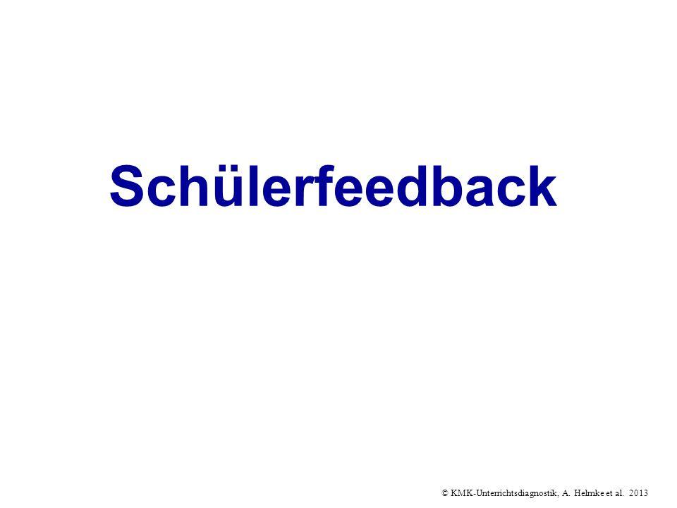 © KMK-Unterrichtsdiagnostik, A. Helmke et al. 2013 Schülerfeedback