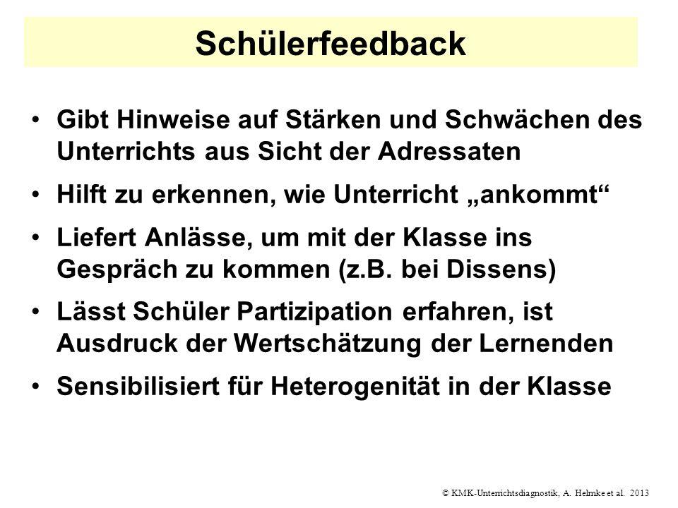 © KMK-Unterrichtsdiagnostik, A. Helmke et al. 2013 Schülerfeedback Gibt Hinweise auf Stärken und Schwächen des Unterrichts aus Sicht der Adressaten Hi