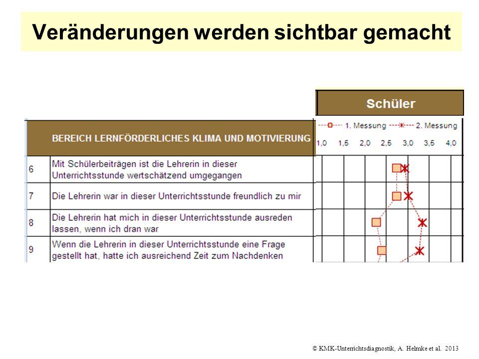© KMK-Unterrichtsdiagnostik, A. Helmke et al. 2013 Veränderungen werden sichtbar gemacht