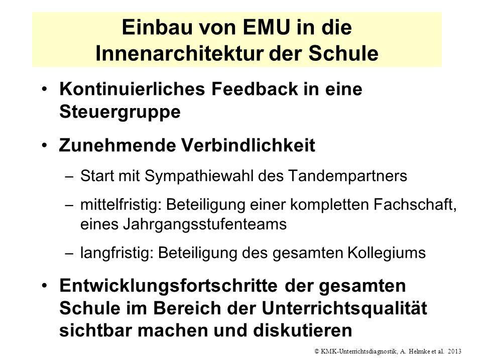 © KMK-Unterrichtsdiagnostik, A. Helmke et al. 2013 Einbau von EMU in die Innenarchitektur der Schule Kontinuierliches Feedback in eine Steuergruppe Zu
