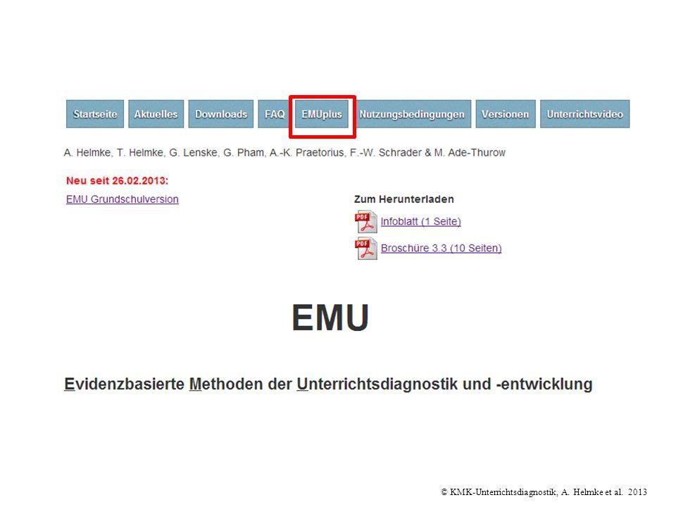 © KMK-Unterrichtsdiagnostik, A. Helmke et al. 2013