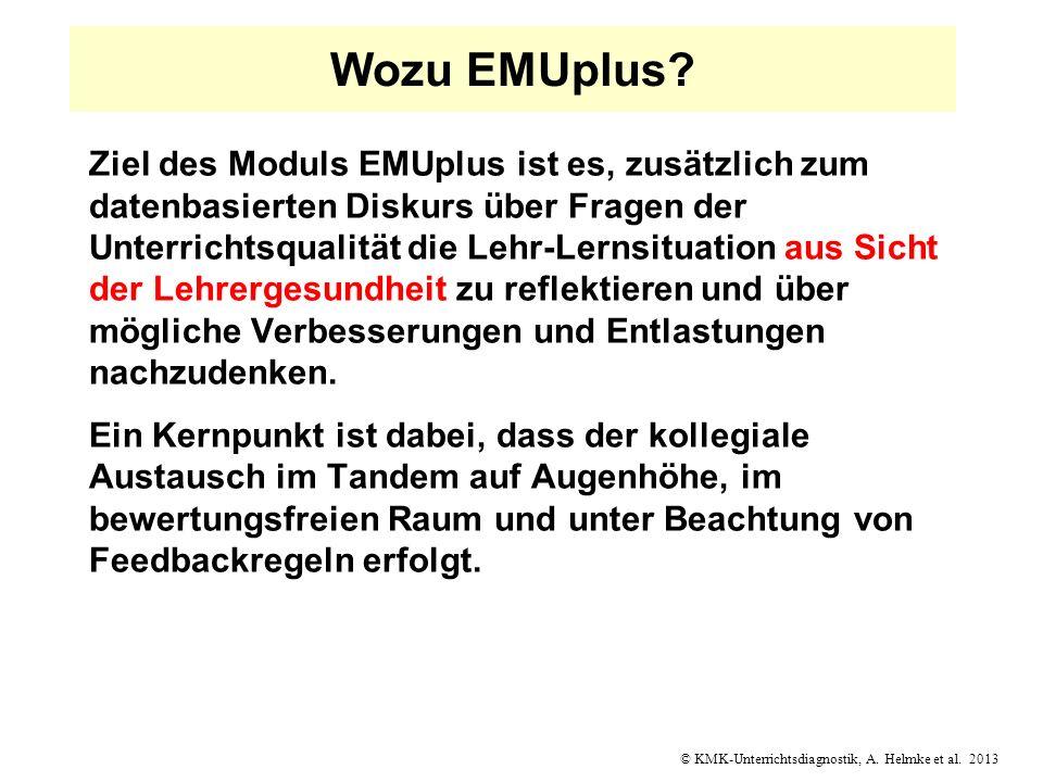 Wozu EMUplus? Ziel des Moduls EMUplus ist es, zusätzlich zum datenbasierten Diskurs über Fragen der Unterrichtsqualität die Lehr-Lernsituation aus Sic