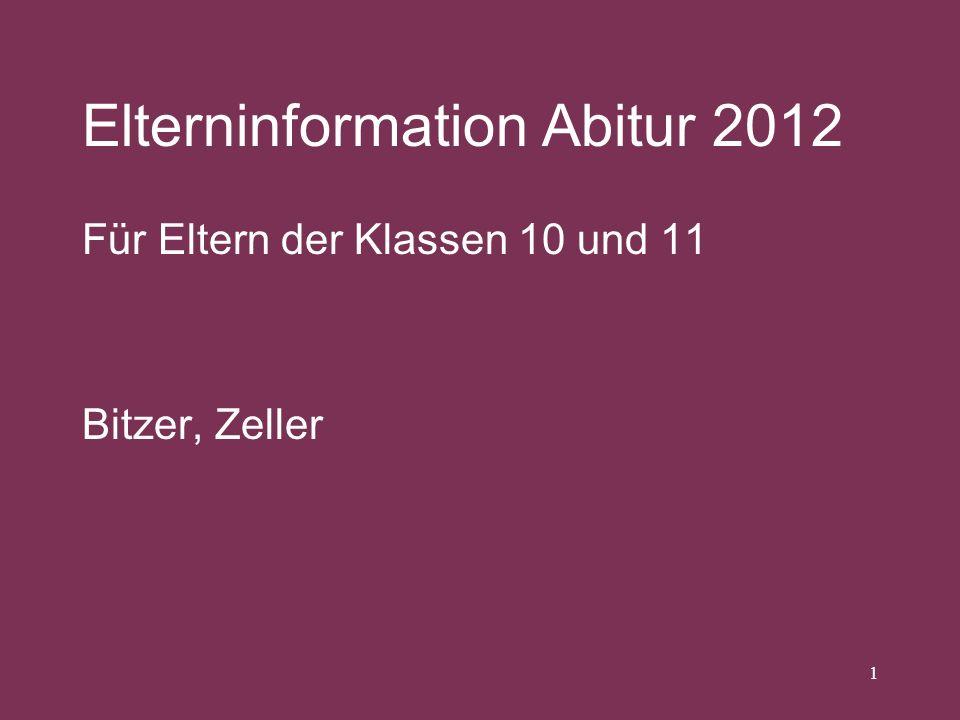 Elterninformation Abitur 2012 Für Eltern der Klassen 10 und 11 Bitzer, Zeller 1