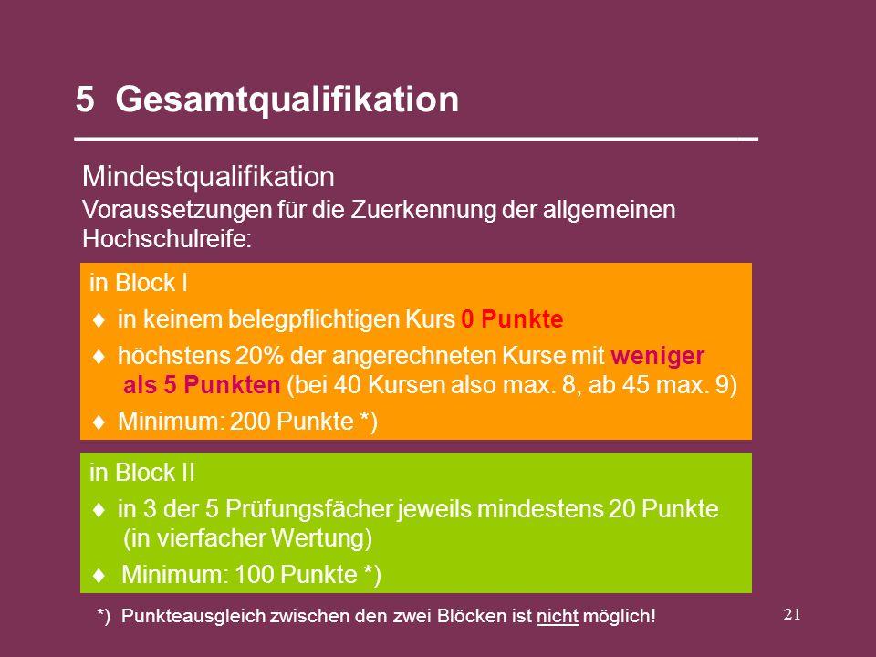 21 5 Gesamtqualifikation __________________________________ Mindestqualifikation in Block II in Block I Voraussetzungen für die Zuerkennung der allgem