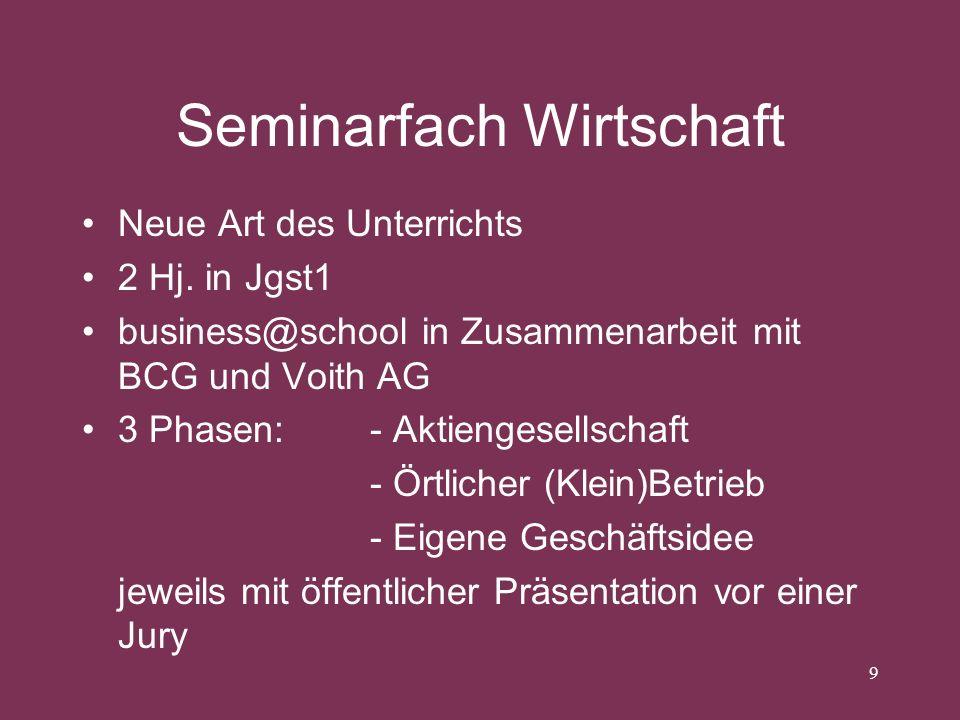 Seminarfach Wirtschaft Neue Art des Unterrichts 2 Hj. in Jgst1 business@school in Zusammenarbeit mit BCG und Voith AG 3 Phasen: - Aktiengesellschaft -