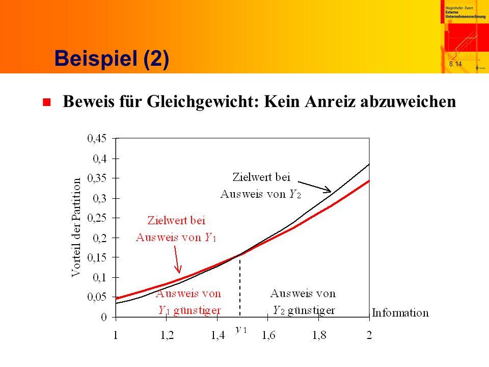 8.14 Beispiel (2) n Beweis für Gleichgewicht: Kein Anreiz abzuweichen
