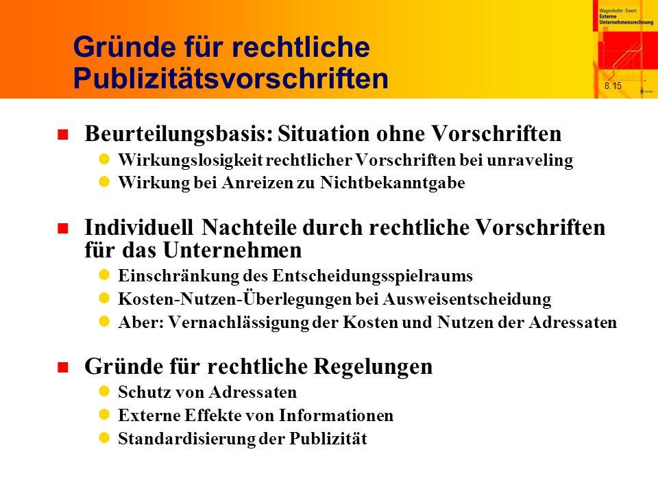 8.15 Gründe für rechtliche Publizitätsvorschriften n Beurteilungsbasis: Situation ohne Vorschriften Wirkungslosigkeit rechtlicher Vorschriften bei unr