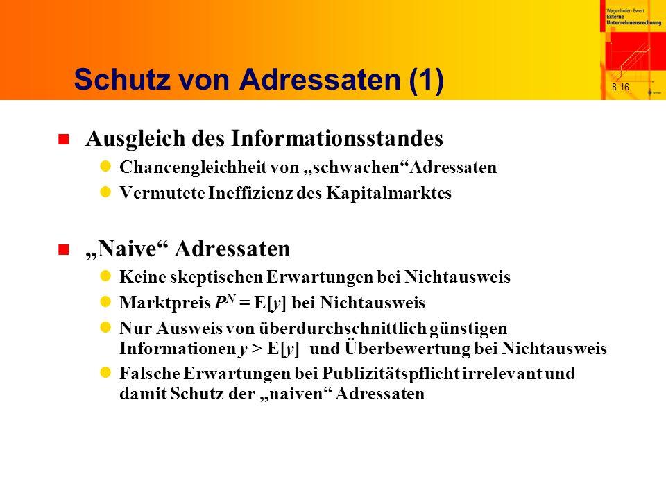 8.16 Schutz von Adressaten (1) n Ausgleich des Informationsstandes Chancengleichheit von schwachenAdressaten Vermutete Ineffizienz des Kapitalmarktes