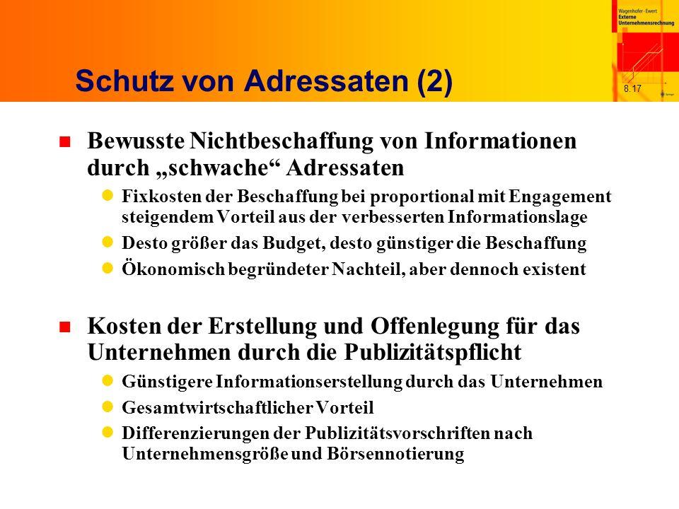 8.17 Schutz von Adressaten (2) n Bewusste Nichtbeschaffung von Informationen durch schwache Adressaten Fixkosten der Beschaffung bei proportional mit