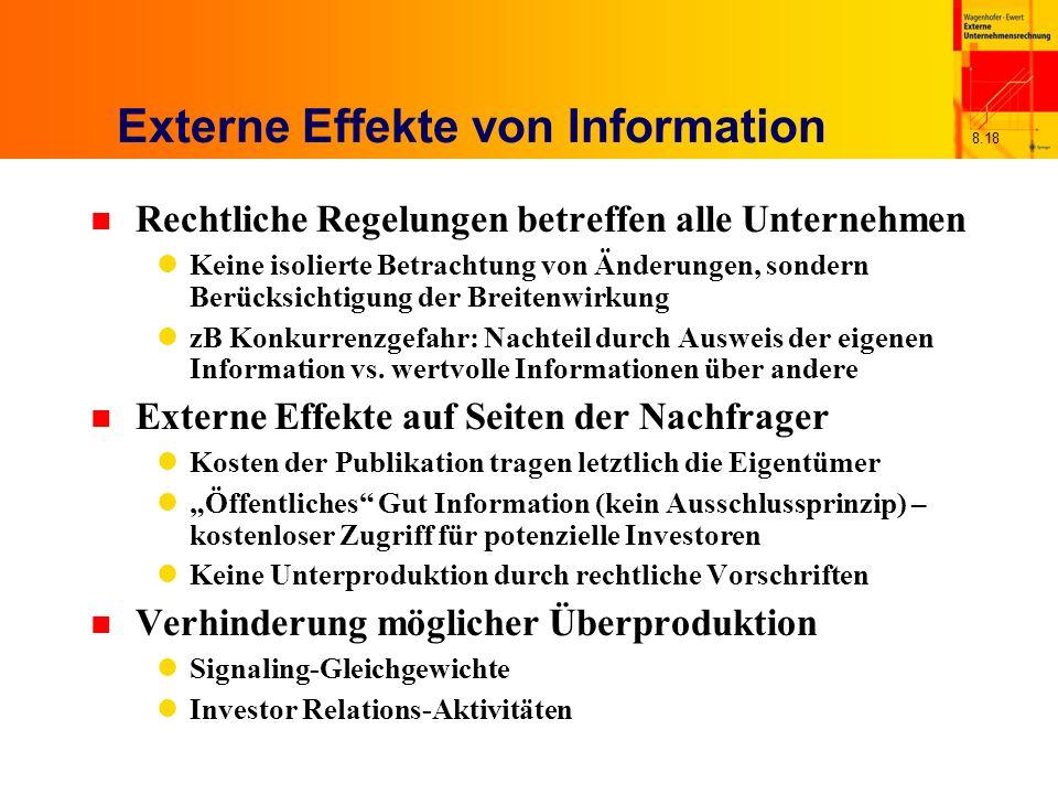 8.18 Externe Effekte von Information n Rechtliche Regelungen betreffen alle Unternehmen Keine isolierte Betrachtung von Änderungen, sondern Berücksich
