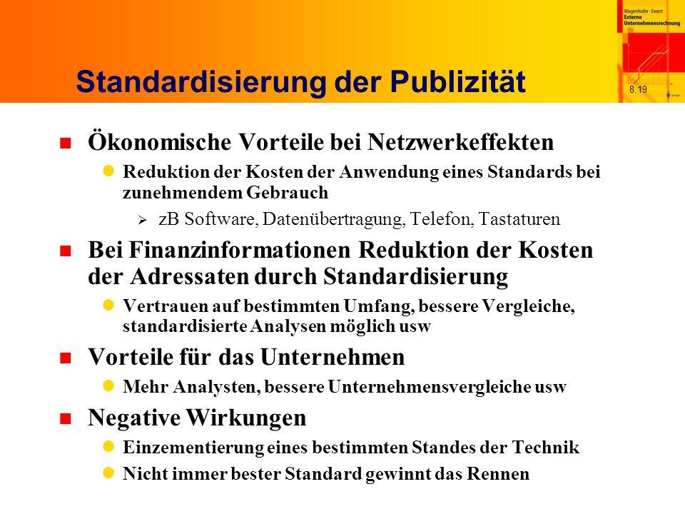 8.19 Standardisierung der Publizität n Ökonomische Vorteile bei Netzwerkeffekten Reduktion der Kosten der Anwendung eines Standards bei zunehmendem Ge