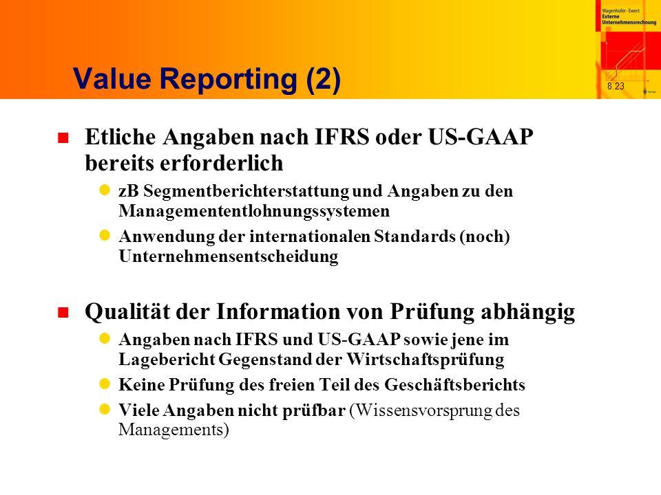8.23 Value Reporting (2) n Etliche Angaben nach IFRS oder US-GAAP bereits erforderlich zB Segmentberichterstattung und Angaben zu den Managemententloh