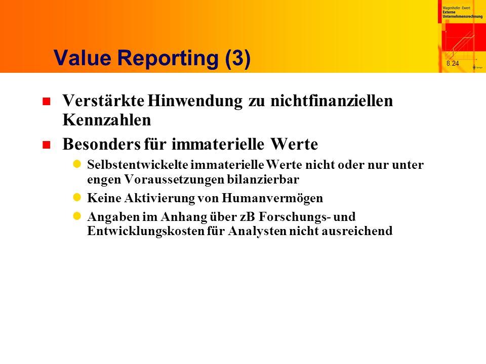 8.24 Value Reporting (3) n Verstärkte Hinwendung zu nichtfinanziellen Kennzahlen n Besonders für immaterielle Werte Selbstentwickelte immaterielle Wer