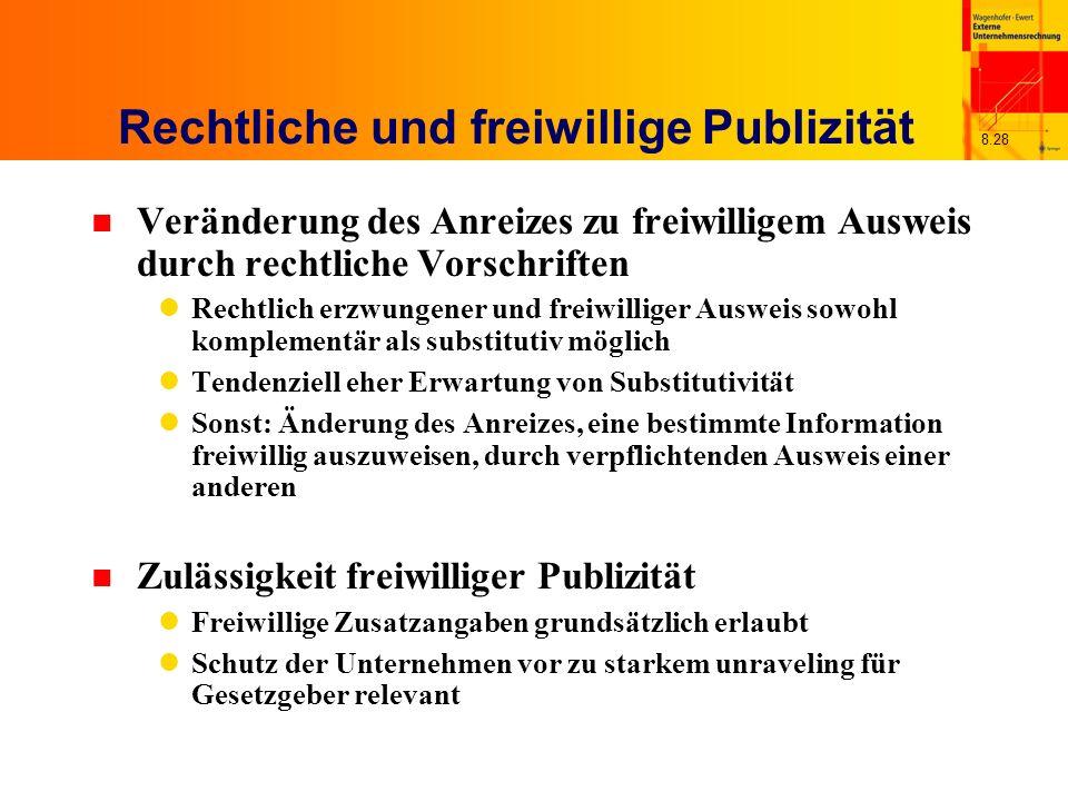 8.28 Rechtliche und freiwillige Publizität n Veränderung des Anreizes zu freiwilligem Ausweis durch rechtliche Vorschriften Rechtlich erzwungener und