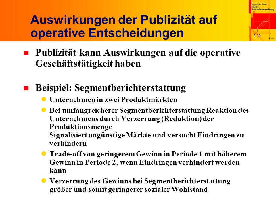 8.30 Auswirkungen der Publizität auf operative Entscheidungen n Publizität kann Auswirkungen auf die operative Geschäftstätigkeit haben n Beispiel: Se