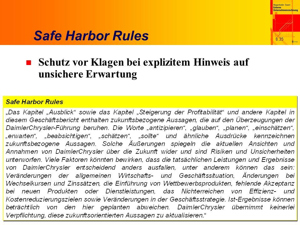 8.35 Safe Harbor Rules n Schutz vor Klagen bei explizitem Hinweis auf unsichere Erwartung
