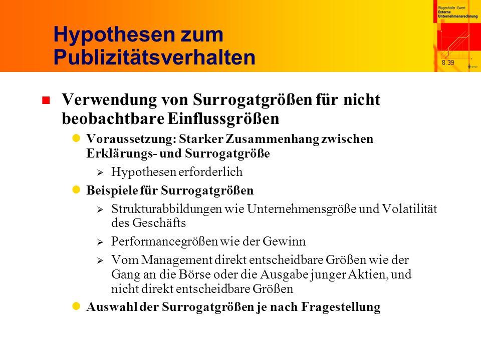 8.39 Hypothesen zum Publizitätsverhalten n Verwendung von Surrogatgrößen für nicht beobachtbare Einflussgrößen Voraussetzung: Starker Zusammenhang zwi