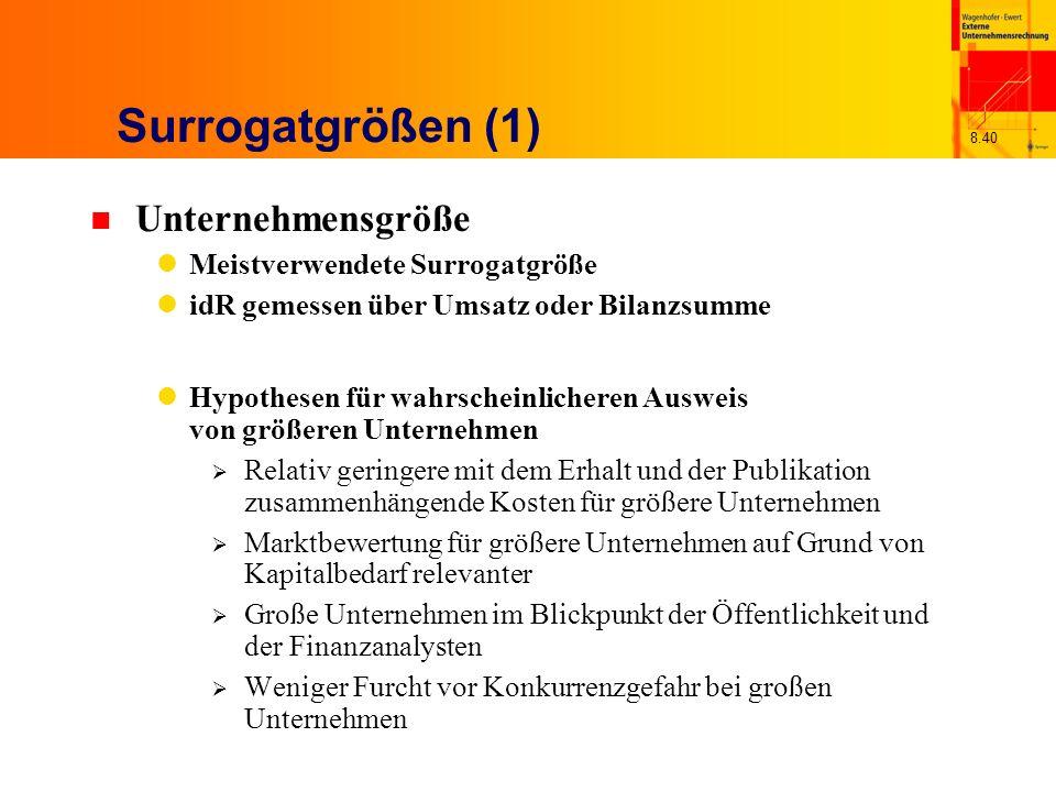 8.40 Surrogatgrößen (1) n Unternehmensgröße Meistverwendete Surrogatgröße idR gemessen über Umsatz oder Bilanzsumme Hypothesen für wahrscheinlicheren