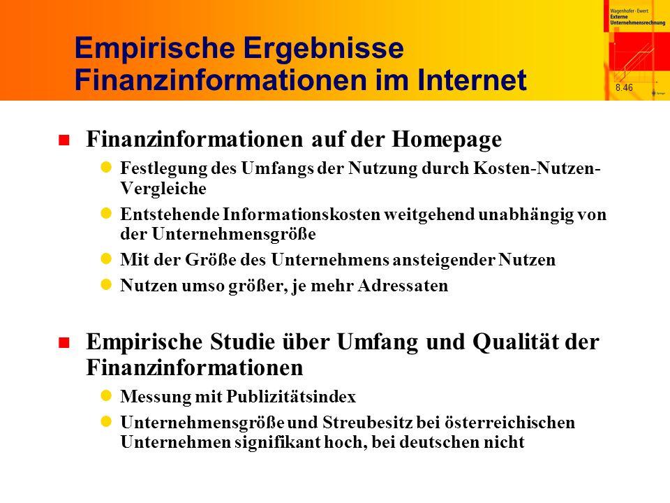 8.46 Empirische Ergebnisse Finanzinformationen im Internet n Finanzinformationen auf der Homepage Festlegung des Umfangs der Nutzung durch Kosten-Nutz