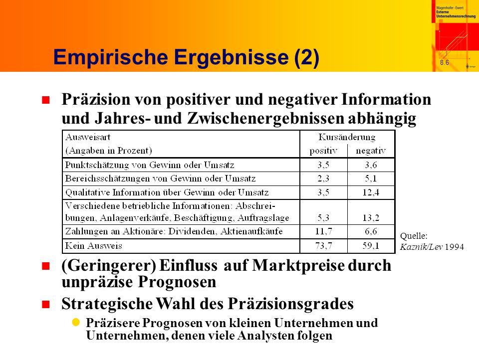 8.6 Empirische Ergebnisse (2) n Präzision von positiver und negativer Information und Jahres- und Zwischenergebnissen abhängig n (Geringerer) Einfluss