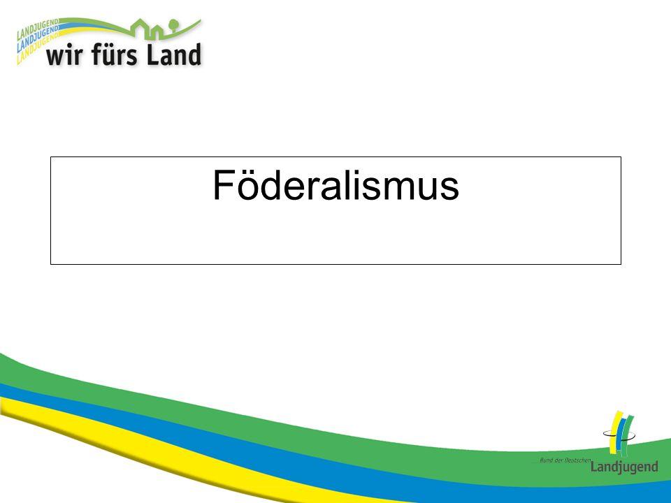 Ursprung I Der Begriff Föderalismus bezeichnet das Prinzip der Bildung eines Bundesstaates, d.h.