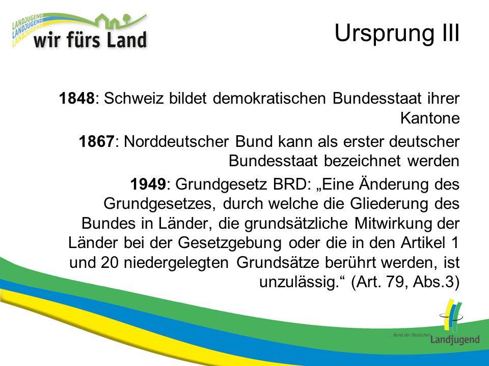 Ursprung III 1848: Schweiz bildet demokratischen Bundesstaat ihrer Kantone 1867: Norddeutscher Bund kann als erster deutscher Bundesstaat bezeichnet w