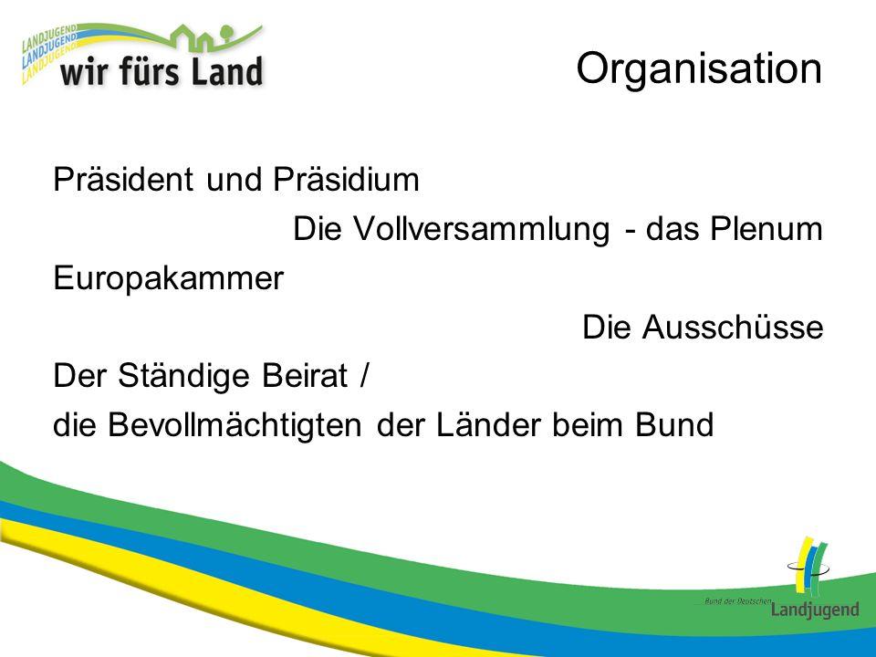 Organisation Stimmenverteilung (Stimmen / EinwohnerInnen in Mio) Nordrhein-Westfalen: 6 / 18,0 Schleswig-Holstein: 4 / 2,8 Bayern: 6 / 12,5Brandenburg: 4 / 2,5 Baden – Württemberg: 6 / 10,7Sachsen-Anhalt: 4 / 2,4 Niedersachsen: 6 / 8,0Thüringen: 4 / 2,3 Hessen: 5 / 6,1Hamburg: 3 / 1,8 Sachsen: 4 / 4,2Mecklenburg-Vorpommern: 3 / 1,7 Rheinland-Pfalz: 4 / 4,0Saarland: 3 / 1,0 Berlin: 4 / 3,4Bremen: 3 / 0,7