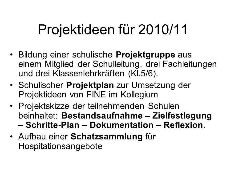 Projektideen für 2010/11 Bildung einer schulische Projektgruppe aus einem Mitglied der Schulleitung, drei Fachleitungen und drei Klassenlehrkräften (K